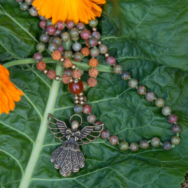 Unakit og rudraksha 108 bead mala