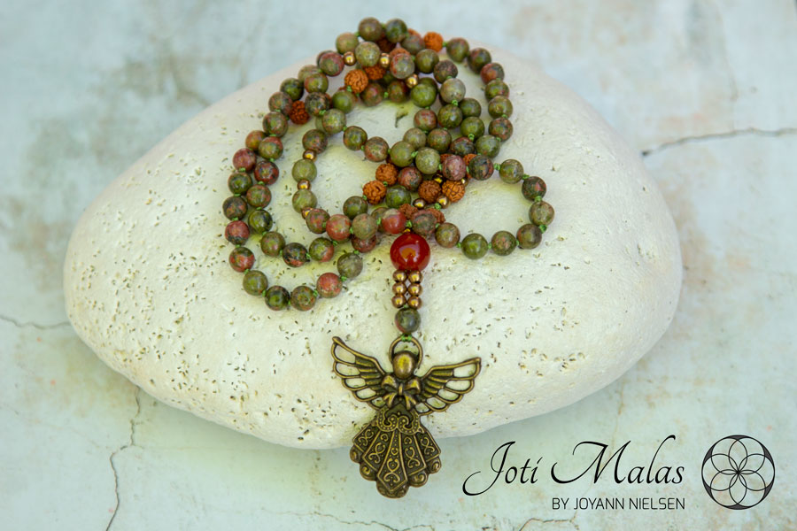 Unakite 108 Bead Mala with Angel Pendant and Rudraksha