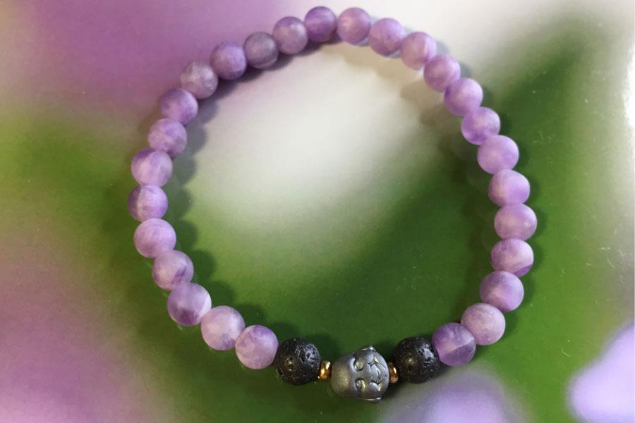 Ametyst armbånd med aromaterapi diffuser sten