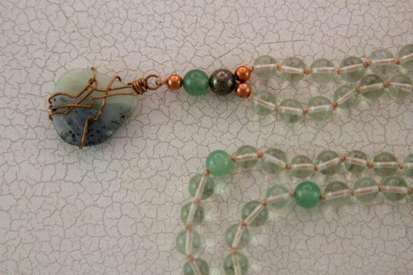 Grøn Tourmalin mala med aventurin, jade og pyrit