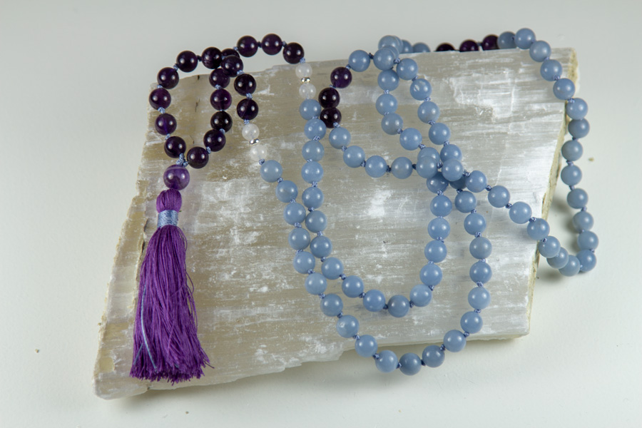 Custom made Angelite and Amethyst mala