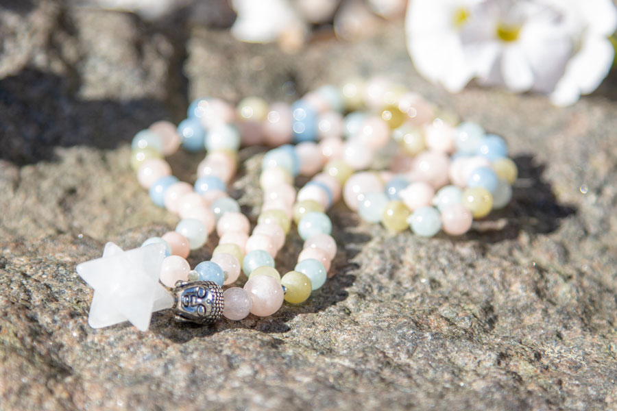 Morganite mala with Merkaba star
