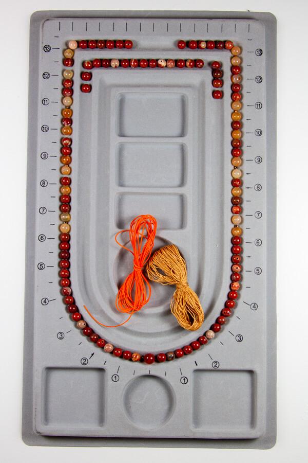 Mala kit med rød jasper og karneol